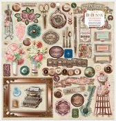 Family Heirlooms Chipboard Stickers - Bo Bunny