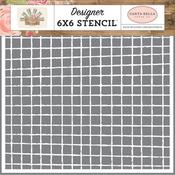 Vintage Grid Stencil - Farmhouse Market - Carta Bella