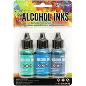 Teal/Blue Spectrum Alcohol Ink .5oz 3/Pkg - Tim Holtz - PRE ORDER