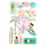 Surf Board Wood Stickers - Prima