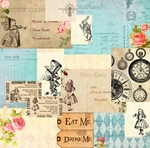 Wonderland Collage Paper - Alice's Tea Party - Memory-Place