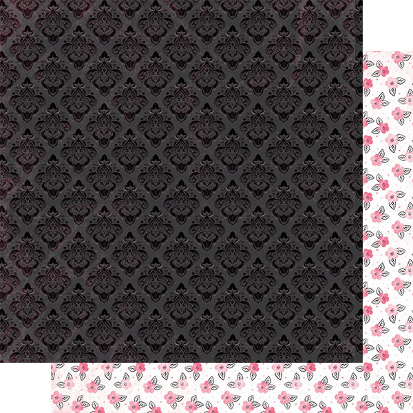 Black Tonal Damask Paper - Authentique - Flawless
