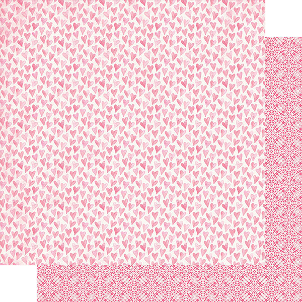 Pink Watercolor Hearts Paper - Authentique - Flawless