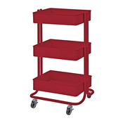 Red Darice 3-Tier Metal Rolling Utility Cart - PRE ORDER