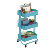 Turquoise Darice 3-Tier Metal Rolling Utility Cart - PRE ORDER