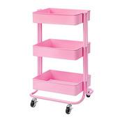Hot Pink Darice 3-Tier Metal Rolling Utility Cart - PRE ORDER