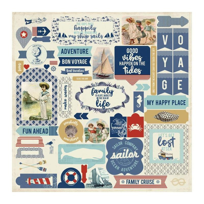 Voyage Details Cardstock Stickers - Authentique - Voyage