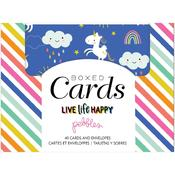 Live Life Happy A2 Cards W/Envelopes - Pebbles - PRE ORDER