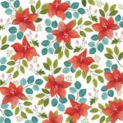 Christmas Floral Patterned Single-Sided Paper - American Crafts