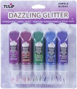 Jewels  - Tulip Dazzling Glitter Dimensional Fabric Paint 5/Pkg