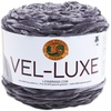 Charcoal - Lion Brand Yarn Vel-Luxe LION BRAND YARN-Vel Luxe. When you spin the luxurious feel of velvet into a 100% polyester yarn, you get Vel-Luxe, Lion Brand's latest fashion yarn. Vel-Luxe is the perfect yarn for on-trend accessories, cozy throws and even projects for that special baby in your life. The cake put-up allows for ease of use with a generous 246 yards per 150 gram ball. The CYC 4 weight is lightweight enough to make fanciful cowls and shawls for indoor wear. Because with a yarn as chic as Vel-Luxe, you wouldn't want to save it for just wearing out in the cold. Weight category: 4. Content: 100% polyester. Putup: 5.3oz/150g, 246yd/225m. Gauge: 16sx24r = 4in/10cm on size US7/4.5mm knitting needles. Suggested crochet hook: H8/5mm. Dyelotted: we try but are not always able to match dye lots. Comes in a variety of colors. Each sold separately. Imported.