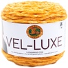 Marigold - Lion Brand Yarn Vel-Luxe LION BRAND YARN-Vel Luxe. When you spin the luxurious feel of velvet into a 100% polyester yarn, you get Vel-Luxe, Lion Brand's latest fashion yarn. Vel-Luxe is the perfect yarn for on-trend accessories, cozy throws and even projects for that special baby in your life. The cake put-up allows for ease of use with a generous 246 yards per 150 gram ball. The CYC 4 weight is lightweight enough to make fanciful cowls and shawls for indoor wear. Because with a yarn as chic as Vel-Luxe, you wouldn't want to save it for just wearing out in the cold. Weight category: 4. Content: 100% polyester. Putup: 5.3oz/150g, 246yd/225m. Gauge: 16sx24r = 4in/10cm on size US7/4.5mm knitting needles. Suggested crochet hook: H8/5mm. Dyelotted: we try but are not always able to match dye lots. Comes in a variety of colors. Each sold separately. Imported.