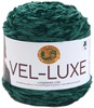 Emerald - Lion Brand Yarn Vel-Luxe LION BRAND YARN-Vel Luxe. When you spin the luxurious feel of velvet into a 100% polyester yarn, you get Vel-Luxe, Lion Brand's latest fashion yarn. Vel-Luxe is the perfect yarn for on-trend accessories, cozy throws and even projects for that special baby in your life. The cake put-up allows for ease of use with a generous 246 yards per 150 gram ball. The CYC 4 weight is lightweight enough to make fanciful cowls and shawls for indoor wear. Because with a yarn as chic as Vel-Luxe, you wouldn't want to save it for just wearing out in the cold. Weight category: 4. Content: 100% polyester. Putup: 5.3oz/150g, 246yd/225m. Gauge: 16sx24r = 4in/10cm on size US7/4.5mm knitting needles. Suggested crochet hook: H8/5mm. Dyelotted: we try but are not always able to match dye lots. Comes in a variety of colors. Each sold separately. Imported.