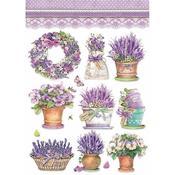 Lavender Vase Stamperia Rice Paper Sheet A4