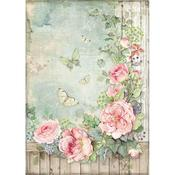 Roses Garden With Fence Stamperia Rice Paper Sheet A4