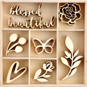 Amethyst Mini Wood Embellishments - Kaisercraft - PRE ORDER