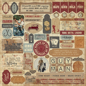 Manly Details 12x12 Sticker Sheet - Manly - Authentique