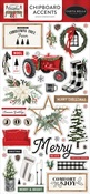 Farmhouse Christmas 6x13 Chipboard Accents - Carta Bella