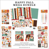 Happy Fall Mega Bundle - Echo Park Our BRAND NEW Mega Bundle includes one each of the Collection Kit, Solids Kit, Ephemera, Frames & Tags, Chipboard Accents, Chipboard Phrases, Puffy Stickers and Enamel Dots.