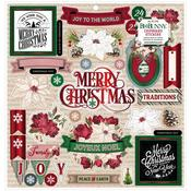 "Joyful Christmas 12""X12"" Chipboard Stickers - Bo Bunny"