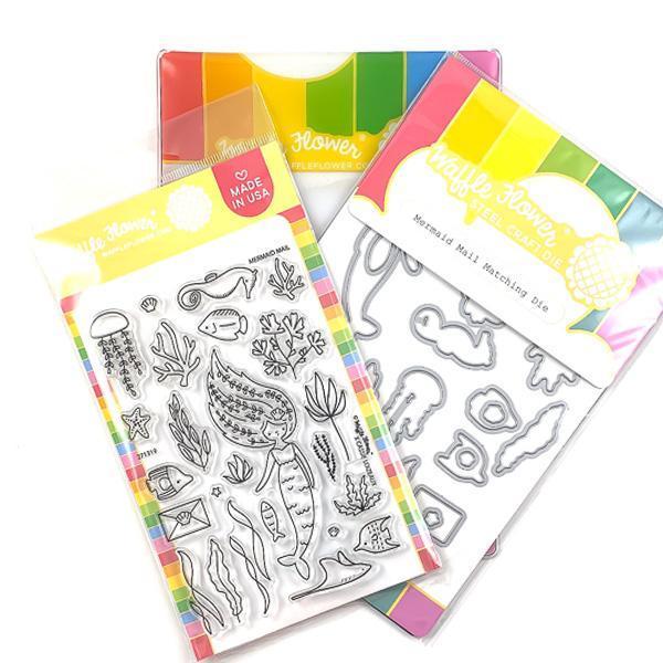 Mermaid Mail Stamp & Die Set - Waffle Flower Crafts - Stamp & Die Sets