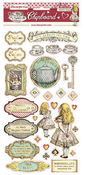 Alice Adhesive Chipboard 6x12 - Stamperia