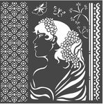 Lady Side Hortensia Stencil - Stamperia