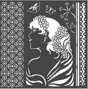 Lady Side Hortensia Stencil - Stamperia