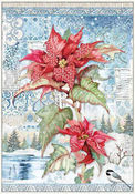 Winter Tales Poinsettia Red Rice Paper - Stamperia - PRE ORDER