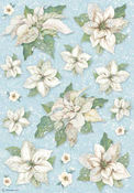 Winter Tales Poinsettia Texture Rice Paper - Stamperia - PRE ORDER