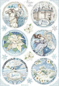 Winter Tales Round Castle Rice Paper - Stamperia - PRE ORDER