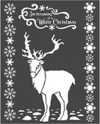 Winter Tales White Christmas Deer Stencil 7.87 x 9.84 - Stamperia