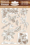 Winter Tales Poinsettia Cling Rubber Stamp - Stamperia - PRE ORDER