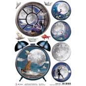 Alarm Clock A4 Rice Paper Sheet - Moon & Me - Ciao Bella