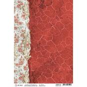 Ancient Red A4 Rice Paper Sheet - Frozen Roses - Ciao Bella
