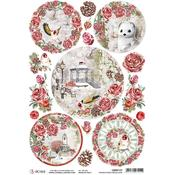Medallions A4 Rice Paper Sheet - Frozen Roses - Ciao Bella