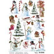 Snowmen A4 Rice Paper Sheet - Ciao Bella