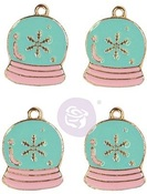 Sugar Cookie Christmas Enamel Charms Snow Globe - Prima