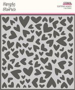 Sweet Talk Scattered Hearts Stencil - Simple Stories