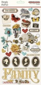 Simple Vintage Ancestry Chipboard Stickers - Simple Stories