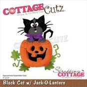 "Black Cat W/Jack-O-Lantern 3""X3.5"" Dies - Cottage Cutz"