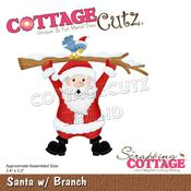 "Santa W/Branch 3.4""X3.2"" Dies - Cottage Cutz"