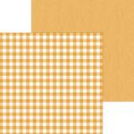 Tangerine Buffalo Check & Wood Grain Paper - Doodlebug