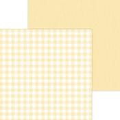 Lemon Buffalo Check & Wood Grain Paper - Doodlebug