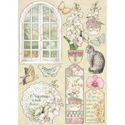 Window Wooden Shapes A5 - Orchids & Cats - Stamperia - PRE ORDER