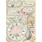Clock & Labels Wooden Shapes A5 - Orchids & Cats - Stamperia