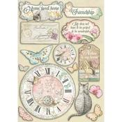 Clock & Labels Wooden Shapes A5 - Orchids & Cats - Stamperia - PRE ORDER