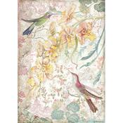 Yellow Orchids & Birds Rice Paper A4 - Orchids & Cats - Stamperia - PRE ORDER