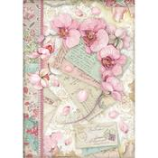 Pink Orchid Rice Paper A4 - Orchids & Cats - Stamperia - PRE ORDER