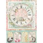 Clock Rice Paper A4 - Orchids & Cats - Stamperia